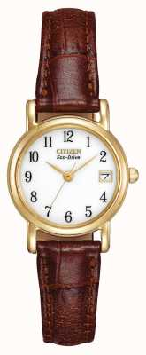 Citizen Womens bracelet en cuir brun sangle eco-drive EW1272-01A