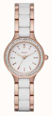 DKNY Chambers blanc céramique et or rose NY2496