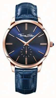 Thomas Sabo Mens cadran bleu bleu bracelet en cuir WA0212-270-209-42