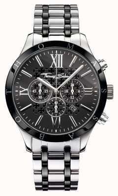 Thomas Sabo Mens cadran noir bracelet en acier inoxydable WA0139-222-203-43