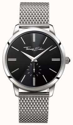 Thomas Sabo Mens cadran noir bracelet en acier inoxydable WA0152-201-203-42