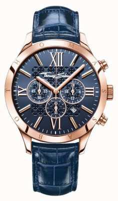 Thomas Sabo Mens cadran bleu bleu bracelet en cuir WA0211-270-209-43