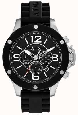 Armani Exchange Mens bracelet en silicone urbain chronographe cadran noir AX1522