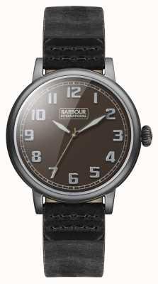 Barbour Hawkins mens montre bracelet en cuir noir BB042BKBK