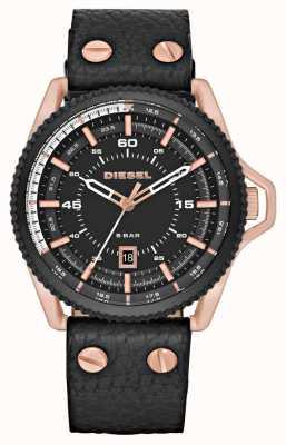Diesel Mens bracelet en cuir noir cadran rond noir DZ1754