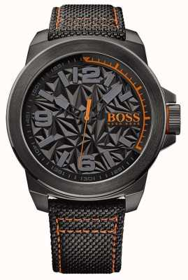 Hugo Boss Orange Mens noir plaqué strap motif cadran gris 1513343