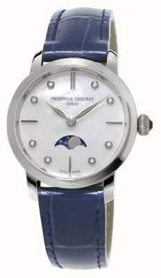 Frederique Constant Bracelet en cuir bleu serti de phases de lune slimline pour femme FC-206MPWD1S6
