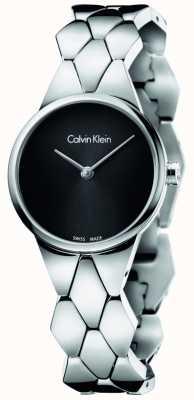 Calvin Klein serpent Femmes bracelet en acier inoxydable cadran noir K6E23141