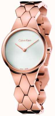 Calvin Klein serpent Womens rose pvd cadran bracelet en or, argent, K6E23646