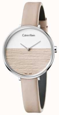 Calvin Klein Femmes augmentent beige bracelet en cuir cadran beige K7A231XH