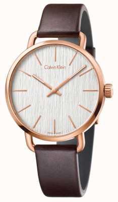 Calvin Klein Bracelet homme en cuir marron clair avec cadran argenté K7B216G6