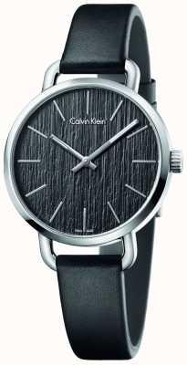 Calvin Klein Womens même bracelet en cuir noir cadran noir K7B231C1