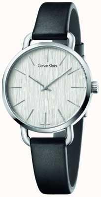 Calvin Klein Womens même cuir noir cadran bracelet en argent K7B231C6