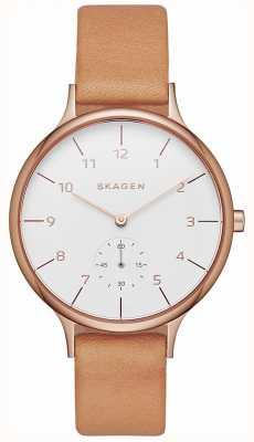 Skagen Womens anita cadran blanc brun bracelet en cuir SKW2405