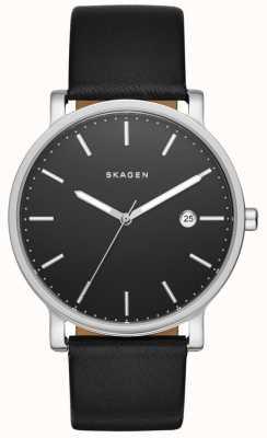 Skagen Mens hagen cuir noir montre bracelet SKW6294