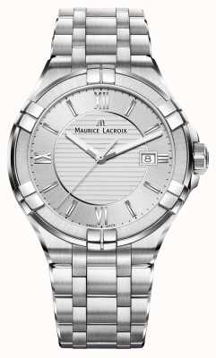 Maurice Lacroix Mens Aikon cadran bracelet en argent en acier inoxydable AI1008-SS002-130-1