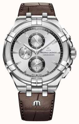 Maurice Lacroix chronographe cuir brun cadran bracelet en argent de Mens AI1018-SS001-130-1