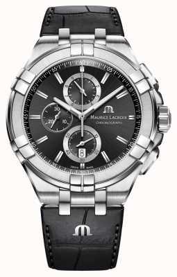 Maurice Lacroix de Mens chronographe bracelet en cuir noir cadran noir AI1018-SS001-330-1
