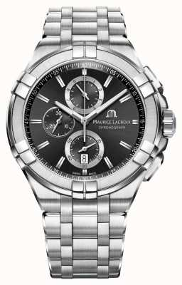 Maurice Lacroix de Mens chronographe bracelet en acier inoxydable cadran noir AI1018-SS002-330-1