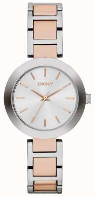 DKNY Womans blanc cadran deux tons bracelet NY2402