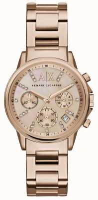 Armani Exchange Womans rose cadran de chronographe en or rose bracelet en métal doré AX4326