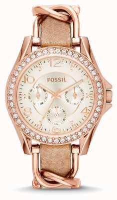 Fossil Womans chronographe blanc bracelet cadran brun en cuir ES3466