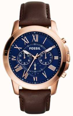 Fossil Mens marine chronographe cadran bracelet en cuir brun FS5068