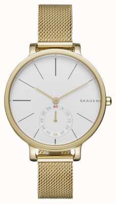 Skagen Womans cadran blanc acier or bracelet en maille SKW2436
