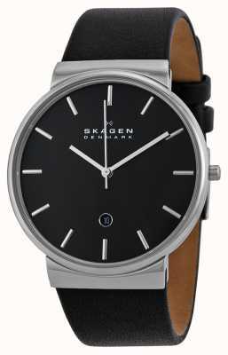 Skagen Hommes ronds cadran noir bracelet en cuir noir SKW6104