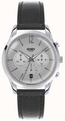 Henry London Sangle de chronographe gris Womans Bracelet en cuir gris HL39-CS-0077