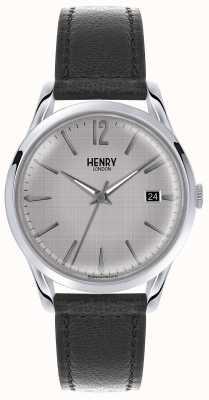 Henry London cadran argenté Mens bracelet en cuir noir HL39-S-0075