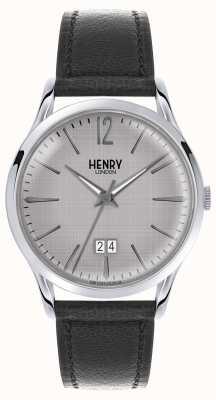 Henry London Bracelet gris en cuir noir pour homme HL41-JS-0081