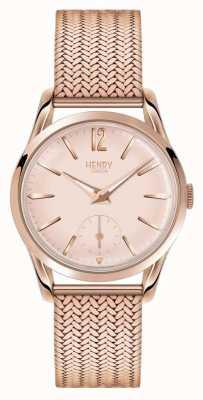 Henry London Womans rose cadran en or rose plaqué or bracelet en maille HL30-UM-0164