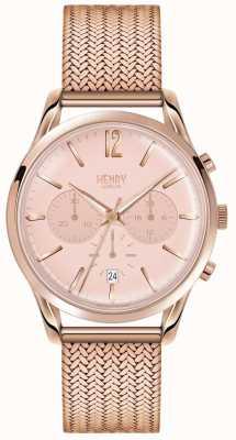 Henry London Womans rose cadran de chronographe en or rose plaqué or maille HL39-CM-0168