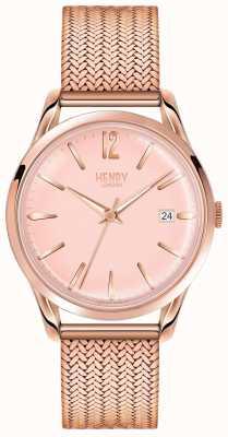 Henry London Womans rose cadran en or rose plaqué or bracelet en maille HL39-M-0166