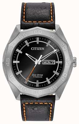 Citizen Mens boîtier en titane bracelet en cuir noir cadran noir AW0060-03E