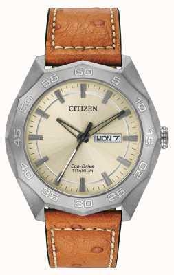 Citizen Hommes boîtier en titane cuir brun cadran champagne bracelet AW0060-11P