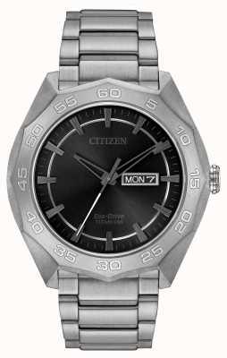 Citizen Mens titane bracelet cadran noir AW0060-54H