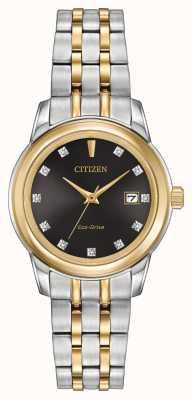 Citizen Womens 11 diamant en acier inoxydable deux tons EW2394-59E