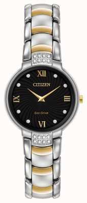 Citizen Womens 24 diamant deux tons bracelet cadran noir EX1464-54E