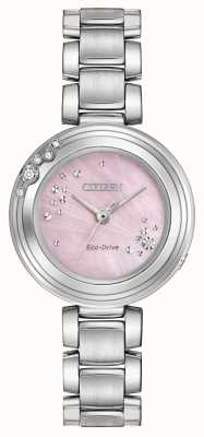 Citizen Femmes eco-drive six diamants cadran rose WR50 EM0460-50N