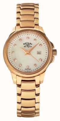 Rotary Womans or rose plaqué cadran bracelet en perles LB90120/41