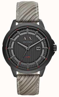 Armani Exchange Mens gris bracelet en cuir cadran noir AX2264