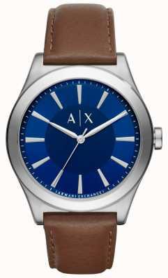 Armani Exchange Mens bracelet en cuir brun cadran bleu boîtier en acier inoxydable AX2324