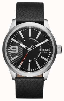 Diesel Mens bracelet en cuir noir cadran noir boîtier en argent DZ1766