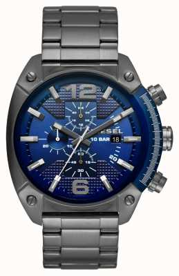 Diesel Mens bracelet en acier inoxydable cadran de chronographe bleu DZ4412