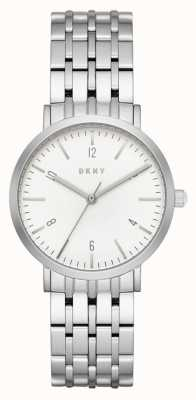 DKNY Womans acier inoxydable argent bracelet en maille cadran rond blanc NY2502