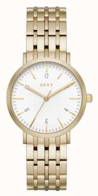 DKNY Womans acier inoxydable bracelet en or maille cadran rond blanc NY2503