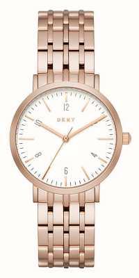 DKNY Womans or rose bracelet en maille d'acier inoxydable cadran rond blanc NY2504