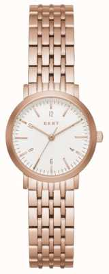 DKNY Bracelet en maille en acier inoxydable plaqué or en cuir Womans NY2511